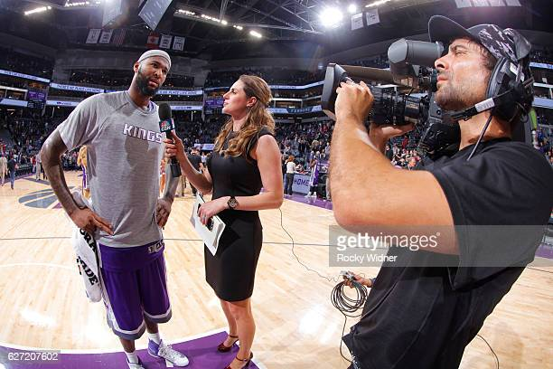 DeMarcus Cousins of the Sacramento Kings speaks with media after defeating the Oklahoma City Thunder on November 23, 2016 at Golden 1 Center in...