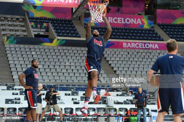 DeMarcus Cousins of the USA Basketball Men's National Team dunks during practice at Palau Sant Jordi on September 5 2014 in Barcelona Spain NOTE TO...