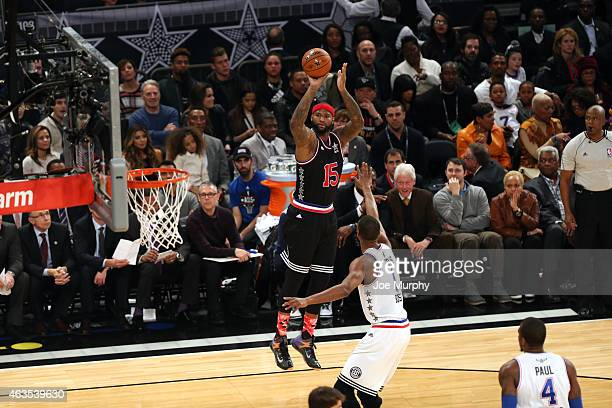 DeMarcus Cousins of the Western Conference shoots against the Eastern Conference AllStars during the 2015 NBA AllStar Game as part of the 2015...