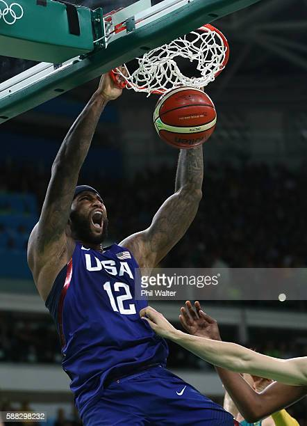 Demarcus Cousins of United States during the Men's Preliminary Round Group A between Australia and the United States on Day 5 of the Rio 2016 Olympic...