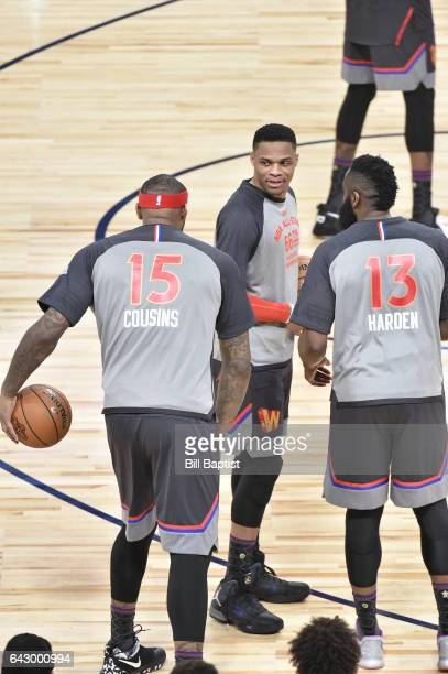 DeMarcus Cousins Russell Westbrook and James Harden of the Western Conference talk during the NBA AllStar Game as a part of 2017 AllStar Weekend at...