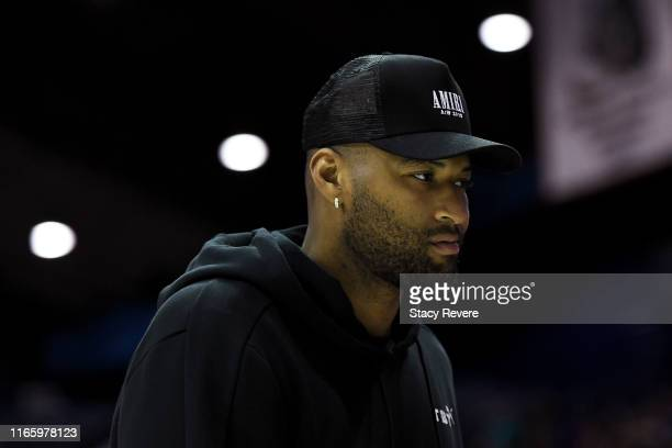 DeMarcus Cousins walks across the court during week seven of the BIG3 three on three basketball league at Allstate Arena on August 03 2019 in Chicago...