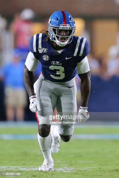 Demarcus Gregory of the Mississippi Rebels in action during a game against the Vanderbilt Commodores at VaughtHemingway Stadium on October 05 2019 in...
