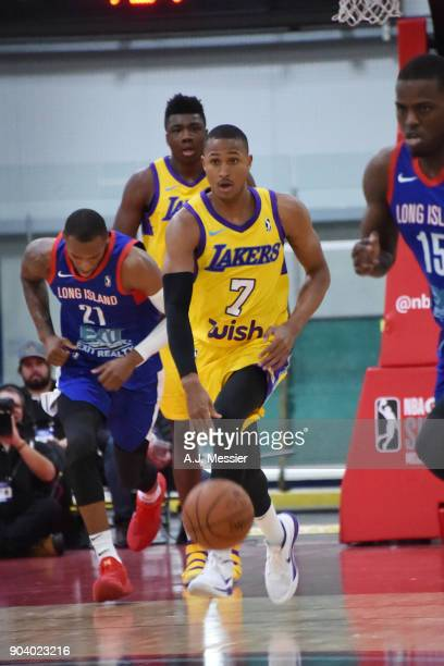 Demarcus Holland of the South Bay Lakers handles the ball during the game against the Long Island Nets at the NBA G League Showcase Game 11 on...