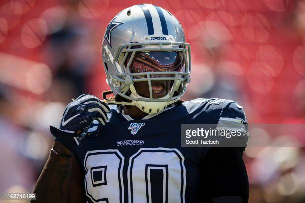 Demarcus Lawrence of the Dallas Cowboys looks on before the game against the Washington Redskins at FedExField on September 15 2019 in Landover...