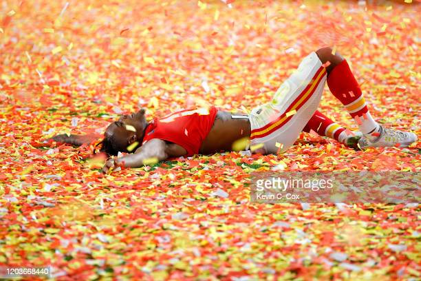 Demarcus Robinson of the Kansas City Chiefs celebrates after defeating San Francisco 49ers by 31 - 20in Super Bowl LIV at Hard Rock Stadium on...