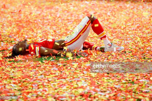 Demarcus Robinson of the Kansas City Chiefs celebrates after defeating San Francisco 49ers by 31 20 in Super Bowl LIV at Hard Rock Stadium on...