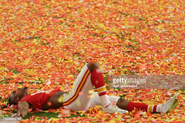 Demarcus Robinson of the Kansas City Chiefs celebrates after defeating the San Francisco 49ers in Super Bowl LIV at Hard Rock Stadium on February 02...