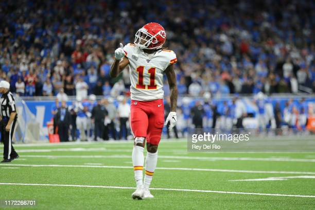 Demarcus Robinson of the Kansas City Chiefs celebrates in the fourth quarter of the game against the Detroit Lions at Ford Field on September 29 2019...