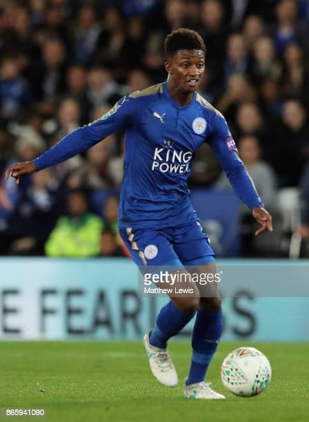 Demari Gray of Leicester in action during the Carabao Cup Fourth Round match between Leicester City and Leeds United at The King Power Stadium on...