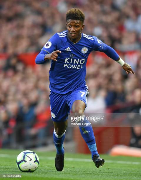 Demari Gray of Leicester in action during the Premier League match between Manchester United and Leicester City at Old Trafford on August 10 2018 in...