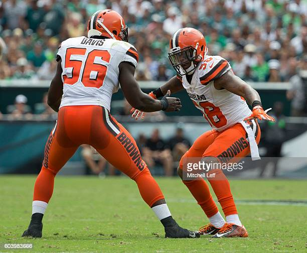 Demario Davis and Chris Kirksey of the Cleveland Browns celebrate against the Philadelphia Eagles at Lincoln Financial Field on September 11 2016 in...