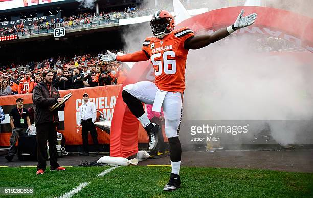 Demario Davis of the Cleveland Browns is introduced prior to the game against the New York Jets at FirstEnergy Stadium on October 30 2016 in...