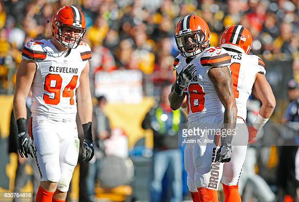 Demario Davis of the Cleveland Browns reacts after a defensive stop in the first half during the game against the Pittsburgh Steelers at Heinz Field...