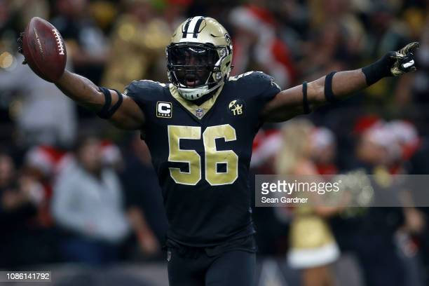 Demario Davis of the New Orleans Saints reacts after recovering a fumble during the second half against the Pittsburgh Steelers at the MercedesBenz...