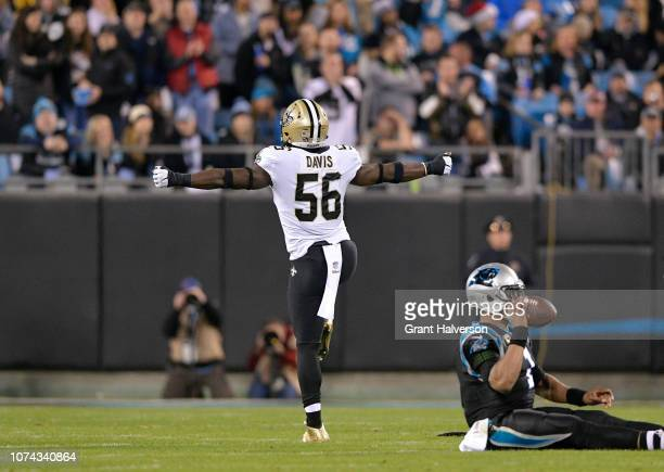 Demario Davis of the New Orleans Saints reacts after sacking Cam Newton of the Carolina Panthers in the first quarter during their game at Bank of...