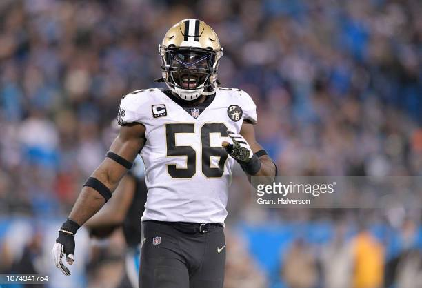 Demario Davis of the New Orleans Saints reacts against the Carolina Panthers in the first quarter during their game at Bank of America Stadium on...