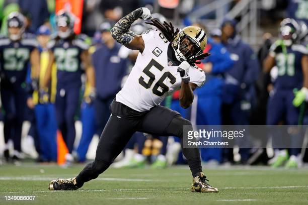Demario Davis of the New Orleans Saints reacts to a defensive stop during the second half against the Seattle Seahawks at Lumen Field on October 25,...