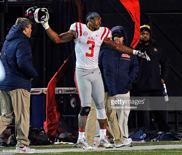 DeMarquis Gates of the Ole Miss Rebels reacts after being ejected from the game against the Vanderbilt Commodores for targeting during the second...