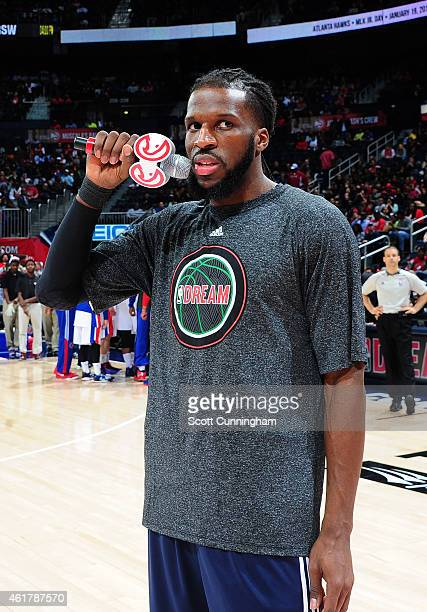 DeMarre Carroll of the Atlanta Hawks speaks to the crowd before the game against the Detroit Pistons on January 19 2015 at Philips Arena in Atlanta...