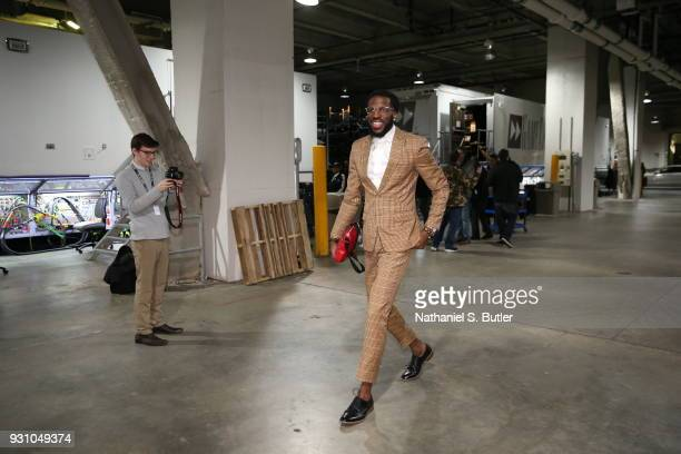 DeMarre Carroll of the Brooklyn Nets arrives to the arena prior to the game against the Philadelphia 76ers on March 11 2018 at Barclays Center in...