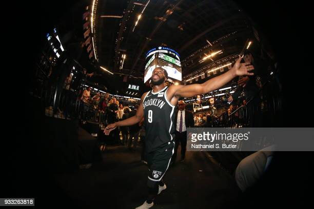 DeMarre Carroll of the Brooklyn Nets celebrates a win against the Dallas Mavericks on March 17 2018 at Barclays Center in Brooklyn New York NOTE TO...