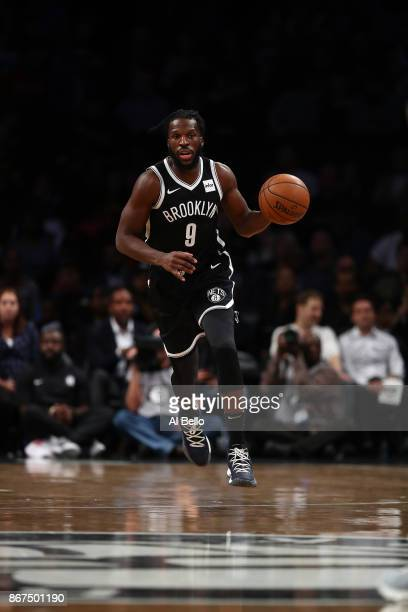 DeMarre Carroll of the Brooklyn Nets dribbles against the Cleveland Cavaliers during their game at Barclays Center on October 25 2017 in the Brooklyn...