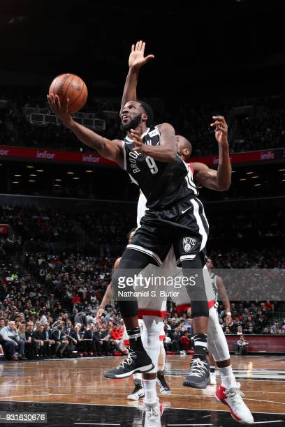 DeMarre Carroll of the Brooklyn Nets goes to the basket against the Toronto Raptors on March 13 2018 at Barclays Center in Brooklyn New York NOTE TO...
