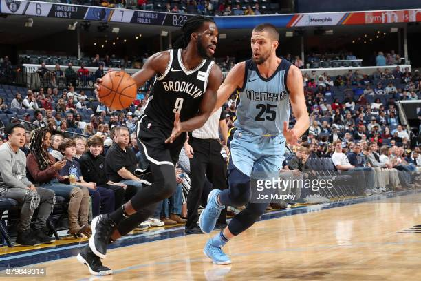 DeMarre Carroll of the Brooklyn Nets handles the ball against Chandler Parsons of the Memphis Grizzlies on November 26 2017 at FedExForum in Memphis...