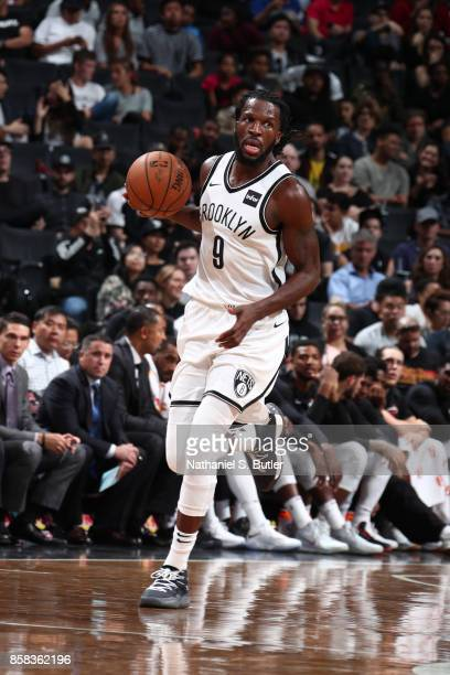 DeMarre Carroll of the Brooklyn Nets handles the ball against the Miami Heat during a preseason game on October 5 2017 at Barclays Center in Brooklyn...