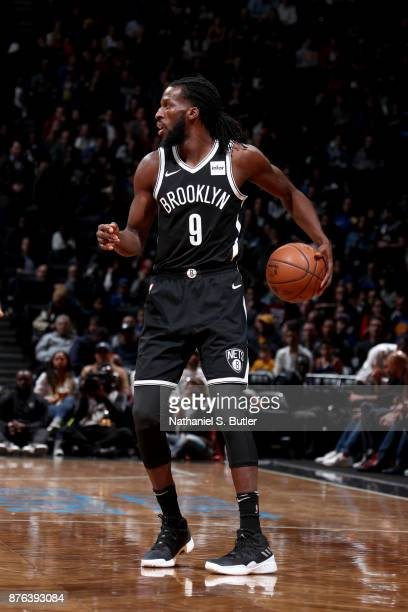 DeMarre Carroll of the Brooklyn Nets handles the ball against the Golden State Warriors on November 19 2017 at Barclays Center in Brooklyn New York...