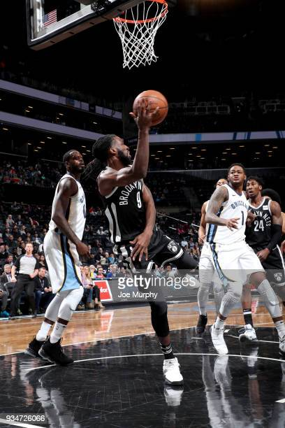 DeMarre Carroll of the Brooklyn Nets passes the ball against the Memphis Grizzlies on March 19 2018 at Barclays Center in Brooklyn New York NOTE TO...