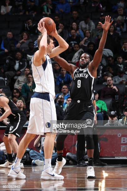 DeMarre Carroll of the Brooklyn Nets plays defense against the Dallas Mavericks on March 17 2018 at Barclays Center in Brooklyn New York NOTE TO USER...