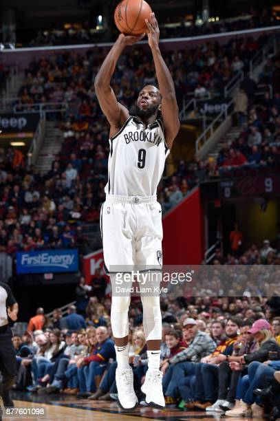 DeMarre Carroll of the Brooklyn Nets shoots the ball against the Cleveland Cavaliers on November 22 2017 at Quicken Loans Arena in Cleveland Ohio...
