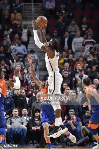 DeMarre Carroll of the Brooklyn Nets shoots the ball to send the game into triple overtime against the Cleveland Cavaliers on February 13 2019 at...