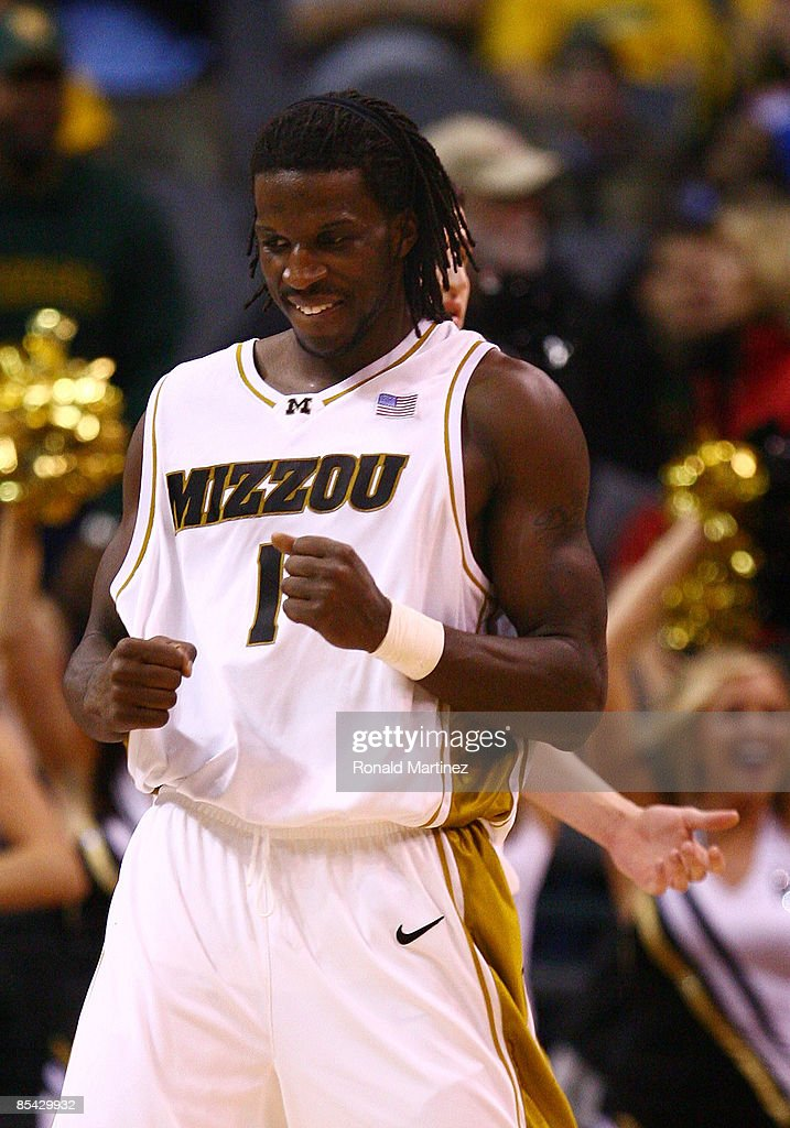 DeMarre Carroll #1 of the Missouri Tigers reacts in the final minute of the Phillips 66 Big 12 Men's Basketball Championship finals at the Ford Center March 14, 2009 in Oklahoma City, Oklahoma.