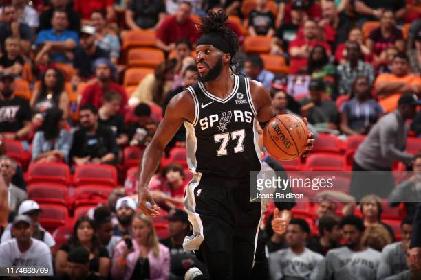 DeMarre Carroll of the San Antonio Spurs handles the ball against the Miami Heat on October 8 2019 at American Airlines Arena in Miami Florida NOTE...