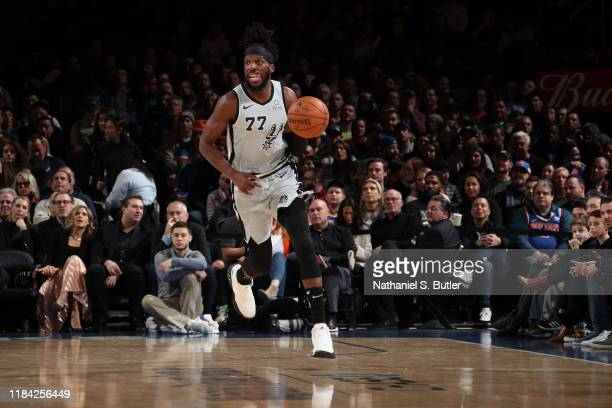 DeMarre Carroll of the San Antonio Spurs handles the ball against the New York Knicks on November 23 2019 at Madison Square Garden in New York City...