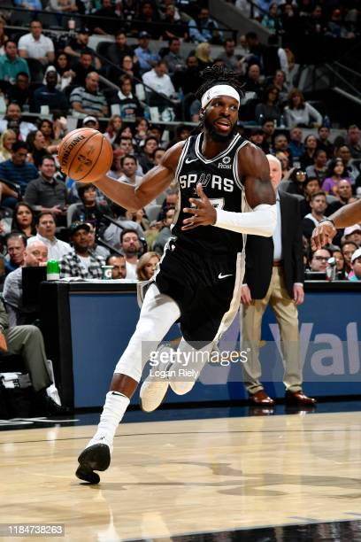DeMarre Carroll of the San Antonio Spurs handles the ball against the Los Angeles Lakers on November 25 2019 at the ATT Center in San Antonio Texas...