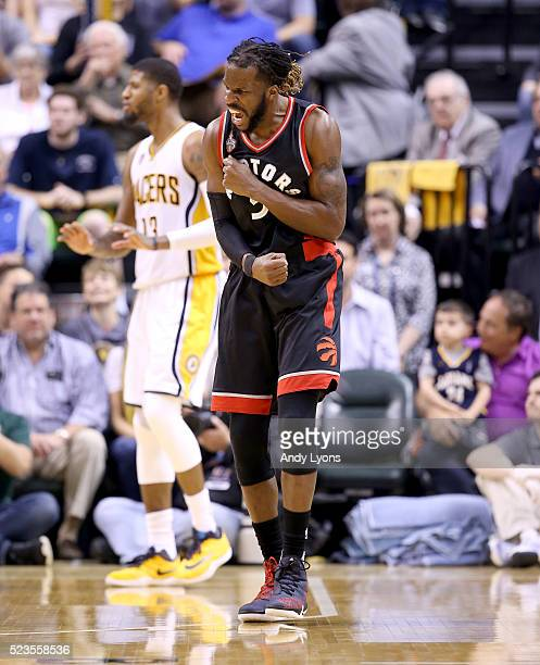 DeMarre Carroll of the Toronto Raptors celebrates against the Indiana Pacers during game four of the 2016 NBA Eastern Conference Quarterfinal...