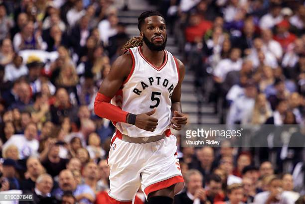 DeMarre Carroll of the Toronto Raptors during an NBA game against the Detroit Pistons at Air Canada Centre on October 26 2016 in Toronto Canada NOTE...