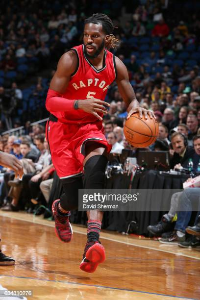DeMarre Carroll of the Toronto Raptors handles the ball against the Minnesota Timberwolves on February 8 2017 at Target Center in Minneapolis...