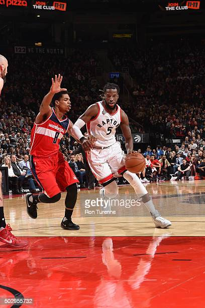 DeMarre Carroll of the Toronto Raptors handles the ball during the game against the Washington Wizards on December 28 2015 at the Air Canada Centre...