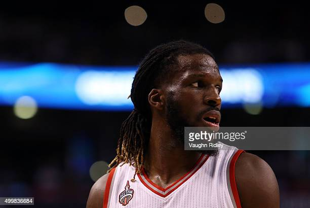 DeMarre Carroll of the Toronto Raptors looks on during an NBA game against the Denver Nuggets at the Air Canada Centre on December 03 2015 in Toronto...