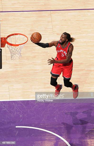 DeMarre Carroll of the Toronto Raptors shoots a layup against the Sacramento Kings on November 15 2015 at Sleep Train Arena in Sacramento California...