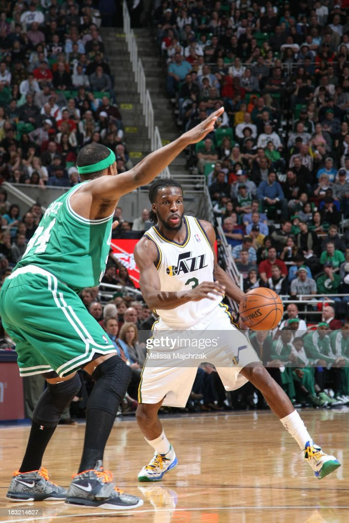 DeMarre Carroll #3 of the Utah Jazz drives to the basket against the Boston Celtics of the Utah Jazz of the Boston Celtics at Energy Solutions Arena on February 25, 2013 in Salt Lake City, Utah.