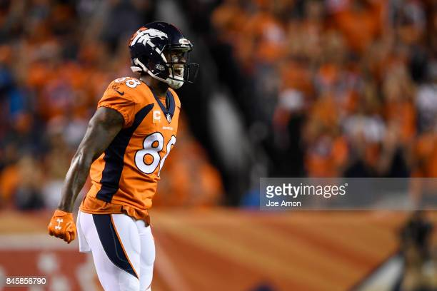 Demaryius Thomas of the Denver Broncos celebrates a big catch and run by Emmanuel Sanders against the Los Angeles Chargers during the third quarter...