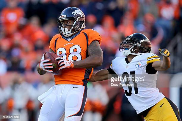 Demaryius Thomas of the Denver Broncos makes a reception under coverage by Ross Cockrell of the Pittsburgh Steelers in the first half during the AFC...