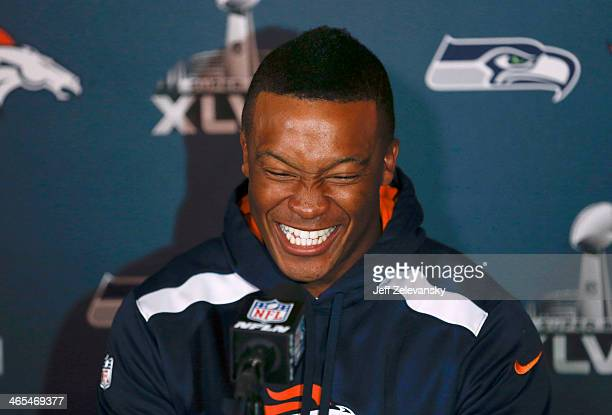 Demaryius Thomas of the Denver Broncos speaks to the media during Super Bowl XLVIII media availability January 27 2014 in Jersey City New Jersey The...