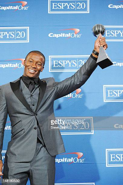 DeMaryius Thomas poses in the press room during the 2012 ESPY Awards at Nokia Theatre L.A. Live on July 11, 2012 in Los Angeles, California.